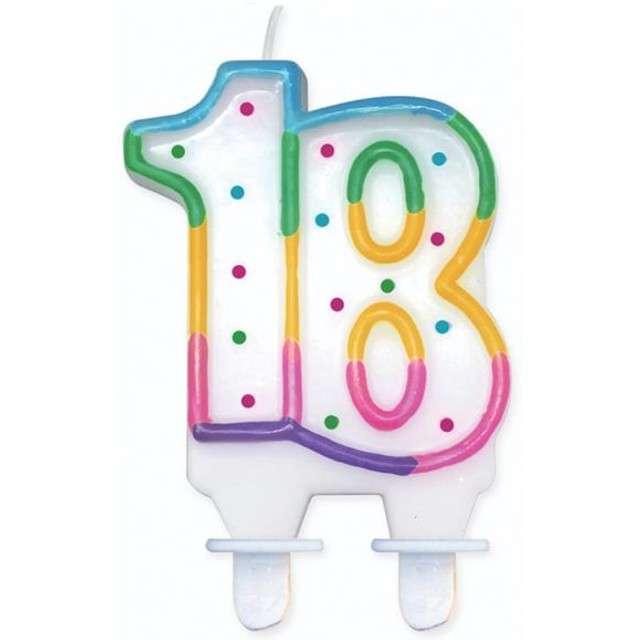 """Świeczka na tort """"18"""", GODAN, kropeczki, 8 cm"""