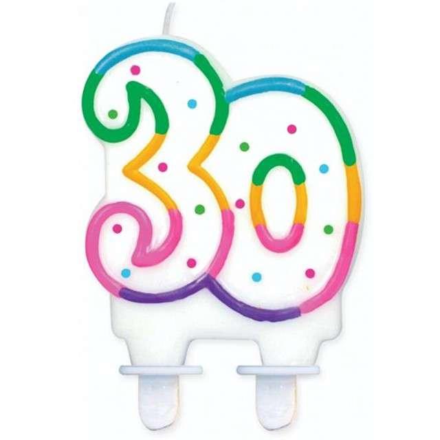 """Świeczka na tort """"30"""", GODAN, kropeczki, 8 cm"""