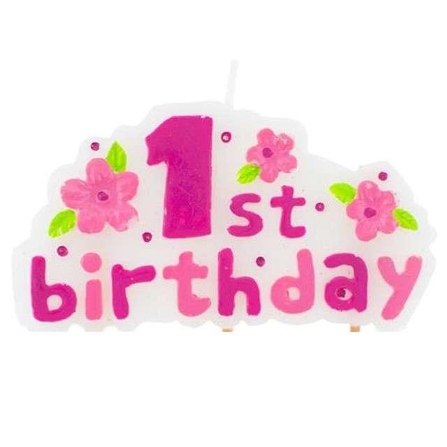 """Świeczka na tort """"1st Birthday"""", różowa, 8 cm"""