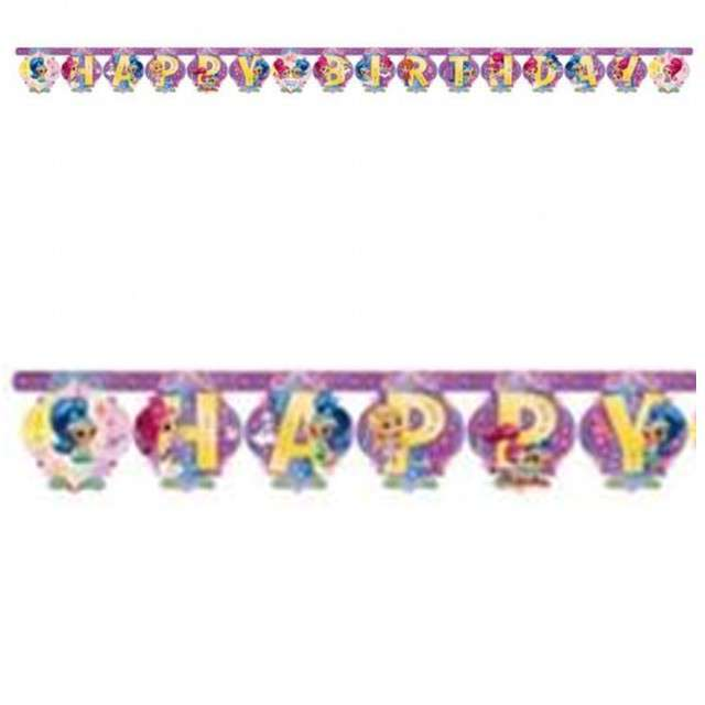 "Baner ""Shimmer & Shine Happy Birthday"", 180 cm"