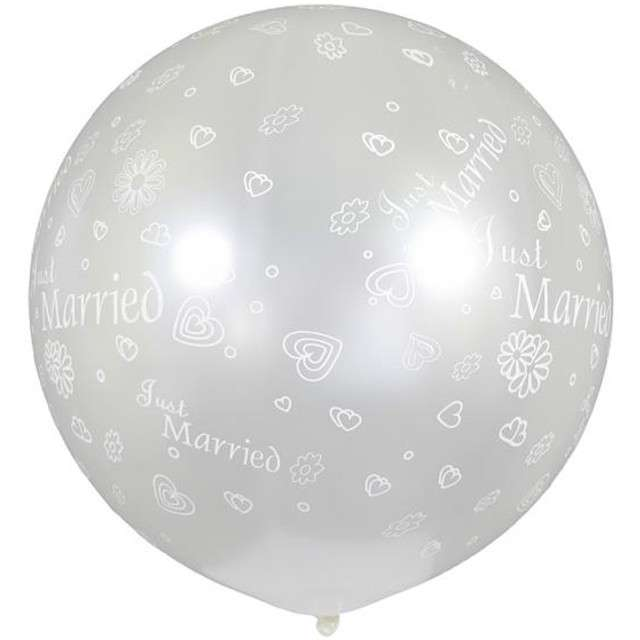 "Balon olbrzym ""Kula Metalik Just Married"", białe, GEMAR, 85 cm"