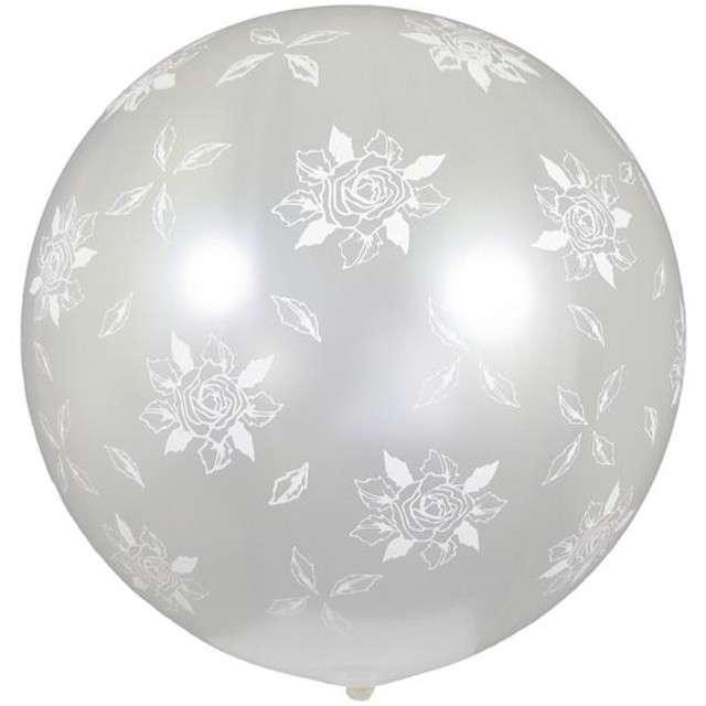 """Balon olbrzym """"Kula Metalik białe róże"""", białe, GEMAR, 85 cm"""