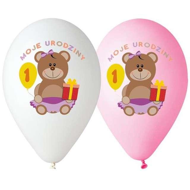 """Balony 12"""", """"Moje Pierwsze Urodziny"""", GODAN, MIX, 5 szt"""