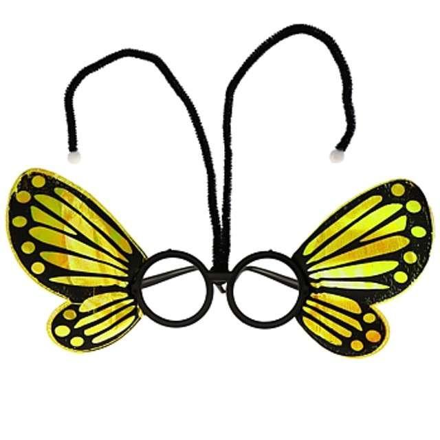 """Okulary party """"Motylek"""", żółte, GODAN"""
