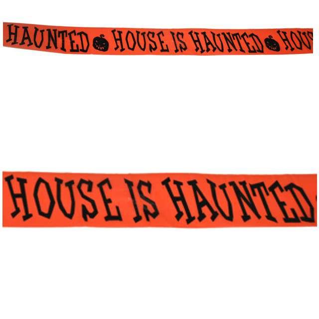 """Baner taśma """"House is Hunted"""", pomarańczowa, Funny Fashion, 610 cm"""