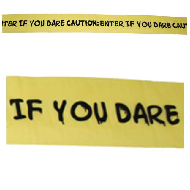 "Baner taśma ""Enter If You Dare"", żółta, Funny Fashion, 610 cm"