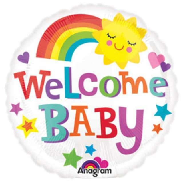 "Balon foliowy ""Welcome Baby Rainbow"", AMSCAN, 9"" RND"