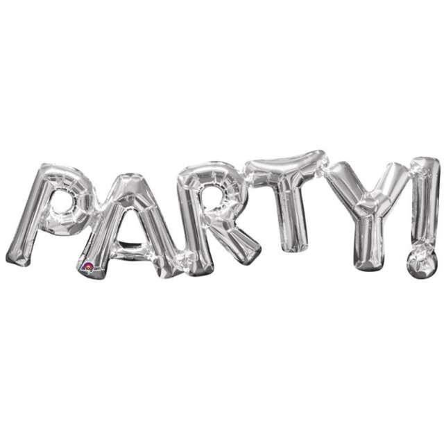 "Balon foliowy ""PARTY"", srebrny, AMSCAN,  32"" SHP"