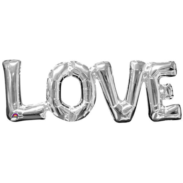 "Balon foliowy ""LOVE"", srebrny, AMSCAN,  24"" SHP"