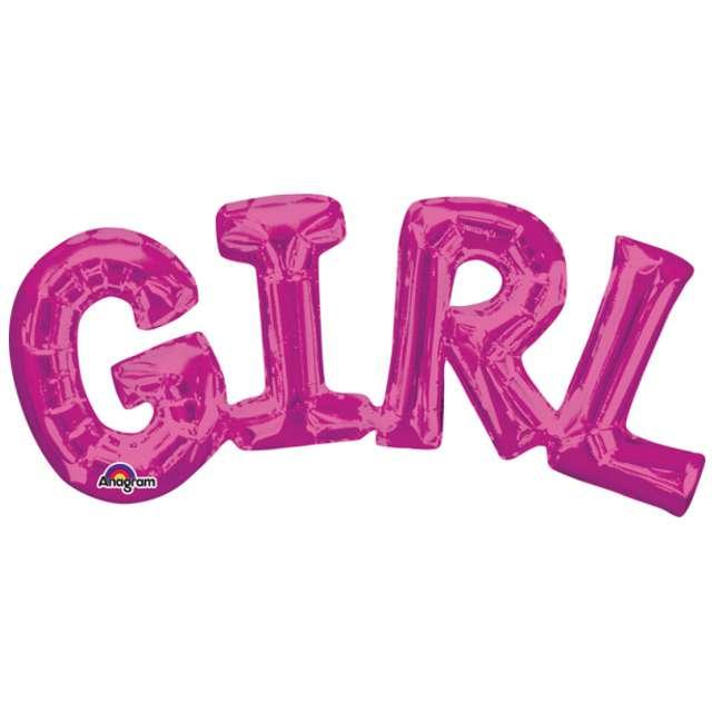 "Balon foliowy ""GIRL"", różowy, AMSCAN, 22"" SHP"