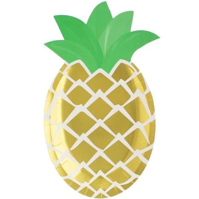 """Talerzyki papierowe """"Ananas - zielone listki"""", Godan, 25 cm, 6 szt"""