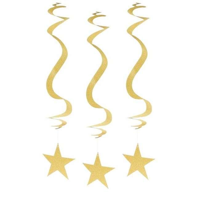 """Dekoracja wisząca """"Brokatowe Gwiazdy"""", GODAN, 3 szt"""