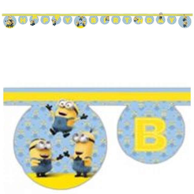 Baner Lovely Minions - Happy Birthday błękitny 200 cm