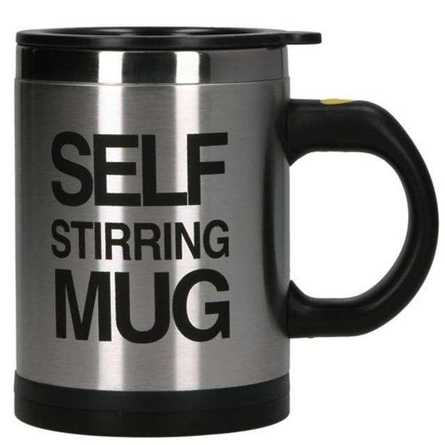 """Kubek """"Self Stirring Mug - samomieszający"""", czarny. GM"""