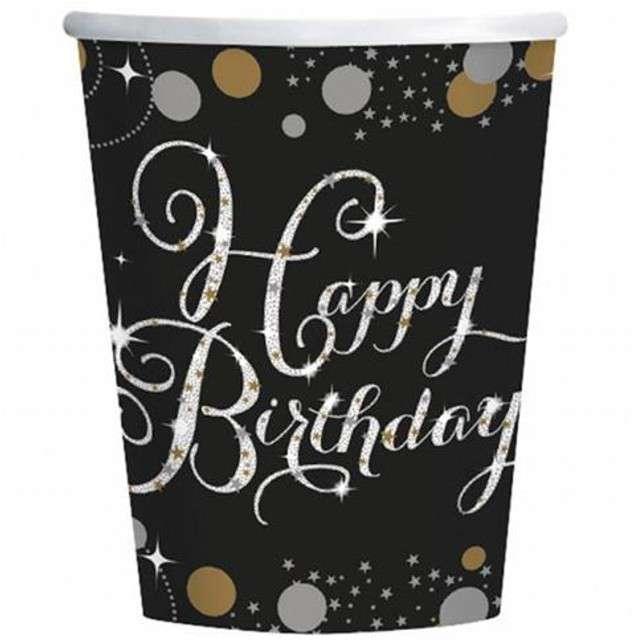 """Kubeczki papierowe """"Urodziny Happy Birthday"""", Sparkling Celebrations Gold, 266 ml, 8 szt"""