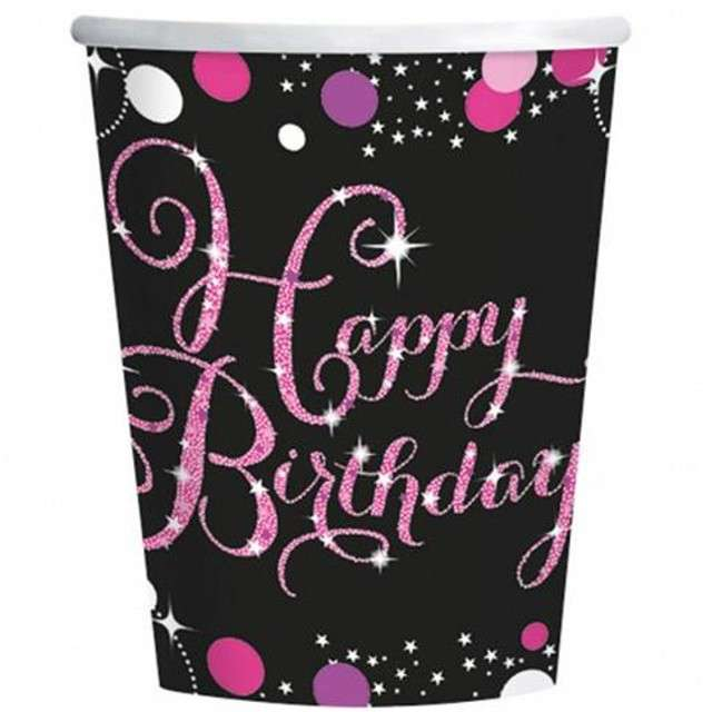 """Kubeczki papierowe """"Urodziny Happy Birthday"""", Sparkling Celebrations Pink, 266 ml, 8 szt"""
