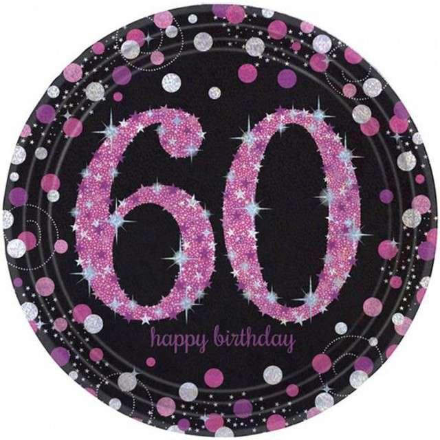 """Talerzyki papierowe """"60 Urodziny - Sparkling Celebrations Pink"""", AMSCAN, 23 cm, 8 szt"""