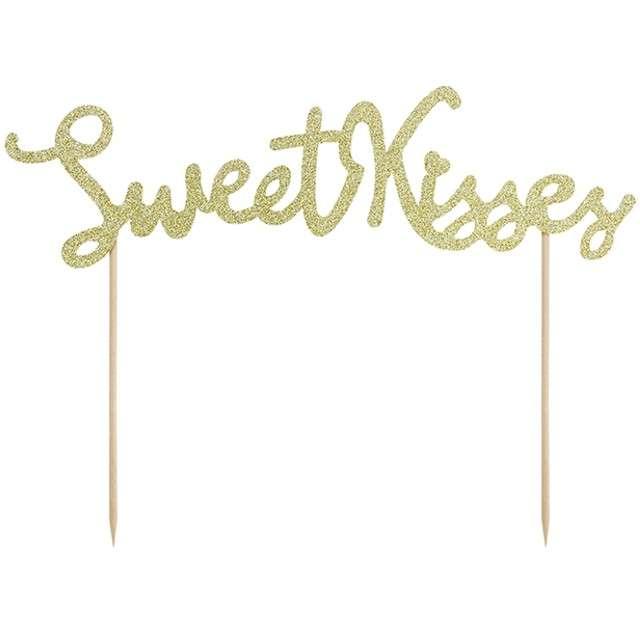"""Dekoracja na tort papierowa """"Sweet Kisses"""", PartyDeco, 16,5 cm"""