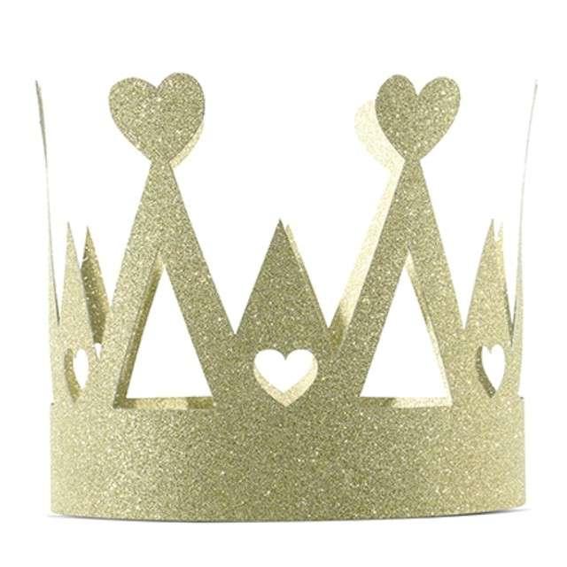 """Korona party """"Swee Love"""", papierowa, złota brokatowa, 1 szt"""