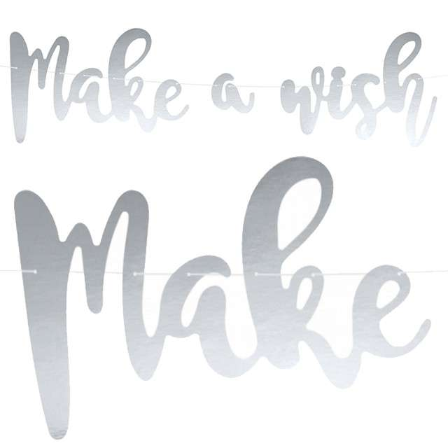 "Baner ""Make a wish"", srebrny, PartyDeco, 60 cm"