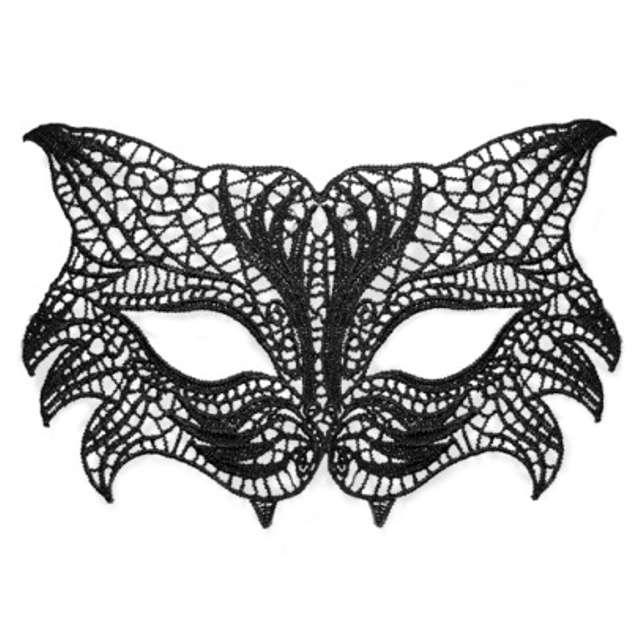 "Maska karnawałowa ""Kot"", czarna ażurowa"