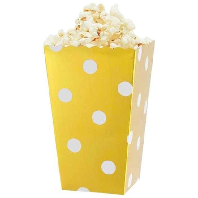 """Pudełka na popcorn """"Białe Groszki"""", złote, 4 szt"""