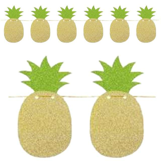 "Girlanda ""Ananas - zielone  listki"", brokatowa, Godan, 250 cm"