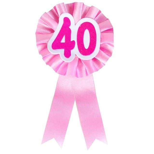 """Kotylion """"Urodziny 40"""", różowy, Godan"""