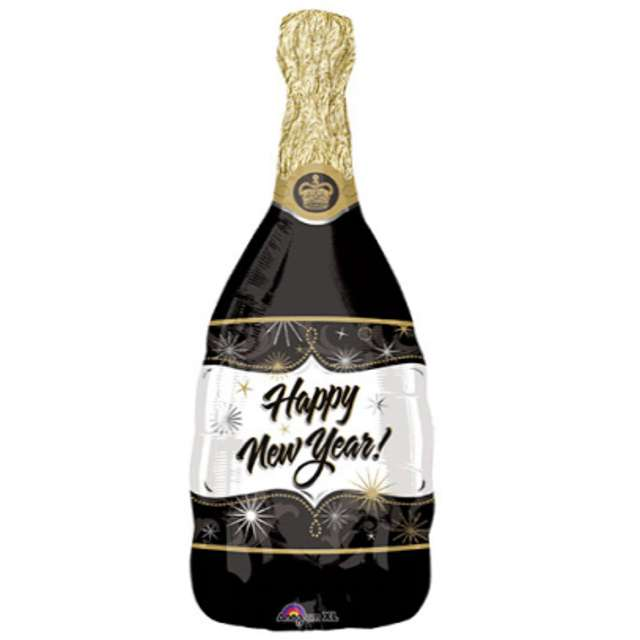 "Balon foliowy ""Butelka Szampana Happy New Year"", AMSCAN, 36"" SHP"