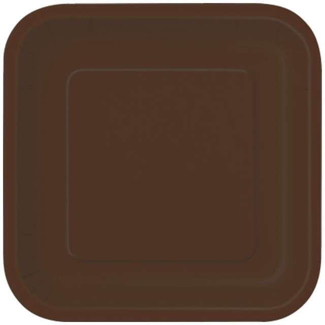 """Talerzyki papierowe """"Kwadrat Classic S"""", brązowe, 18 cm, 16 szt"""