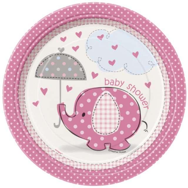 """Talerzyki papierowe """"Słonik Różowy Baby Shower"""", 18 cm, 8 szt"""