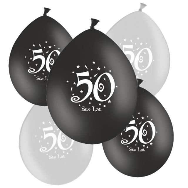 """Balony """"50"""", pastel czarny, srebrny mix, 12"""", 5 szt"""