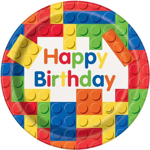 """Talerzyki papierowe """"Happy Birthday Klocki"""", UNIQUE, 23 cm, 8 szt"""