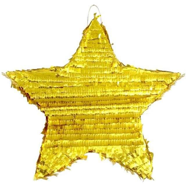 """Piniata """"Gwiazda"""", złota metaliczna, Godan, rozm. 45x44x9 cm"""
