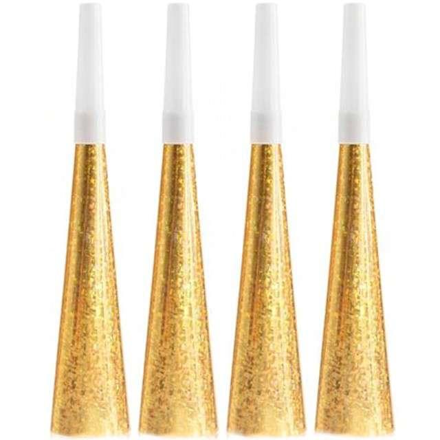 """Trąbki papierowe horn """"Złote Party"""", 4 szt"""