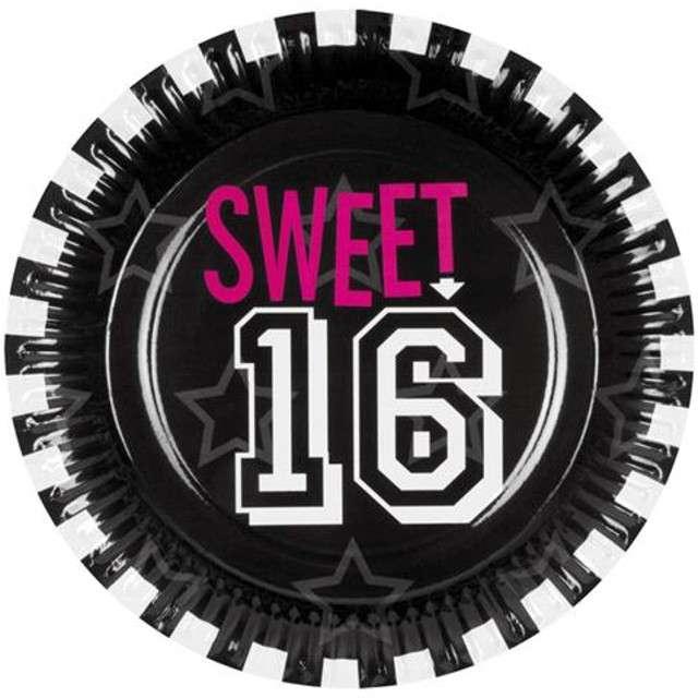 """Talerzyki papierowe """"Sweet 16"""", Procos, 23 cm, 6 szt"""
