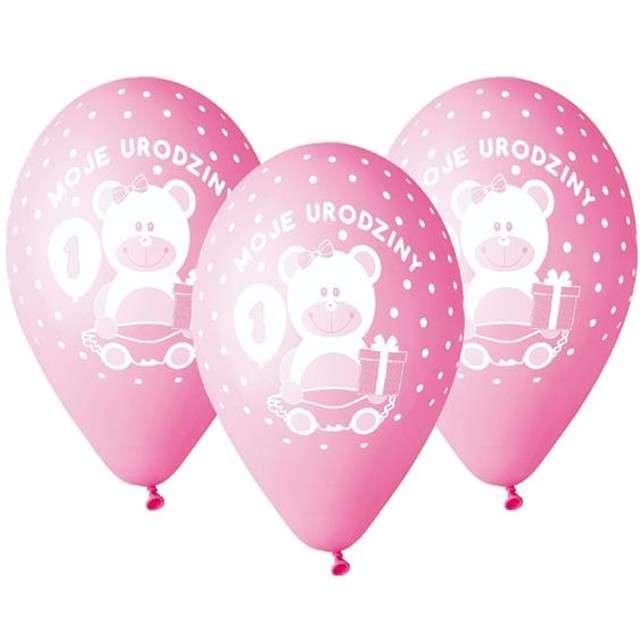"""Balony """"Moje 1 Urodziny"""", różowe, Gemar, 12"""", 5 szt"""