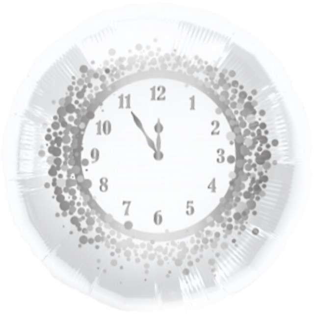 """Balon foliowy 18"""" CIR """"Zegar Happy New Year"""", biało-srebrny, 1 szt."""