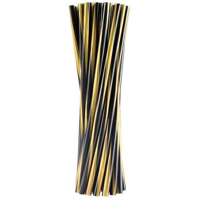 Słomki proste grube 24 cm, czarne złote TWISTER, 500 szt