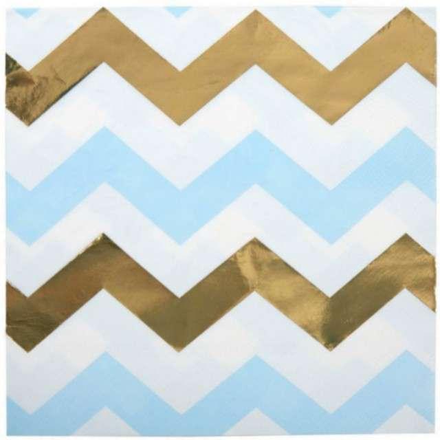"Serwetki ""Pattern Works - Blue Chevron"", NEVITI, 33 cm, 16 szt"