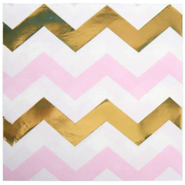 "Serwetki ""Pattern Works - Pink Chevron"", NEVITI, 33 cm, 16 szt"