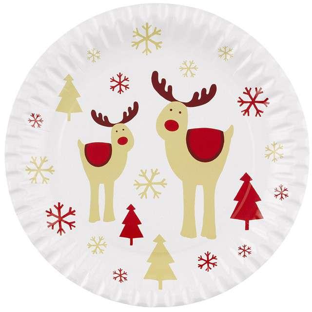 """Talerzyki papierowe """"Rocking Rudolf"""", Neviti, 23 cm, 8 szt"""