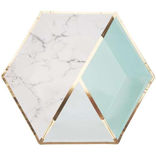 "Talerzyki papierowe ""Colour Block Plate - Mint"", Neviti, 23 cm, 8 szt"