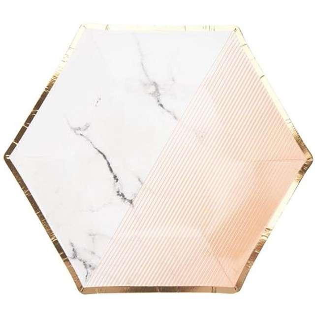 "Talerzyki papierowe ""Colour Block Plate - Peach"", Neviti, 20 cm, 8 szt"