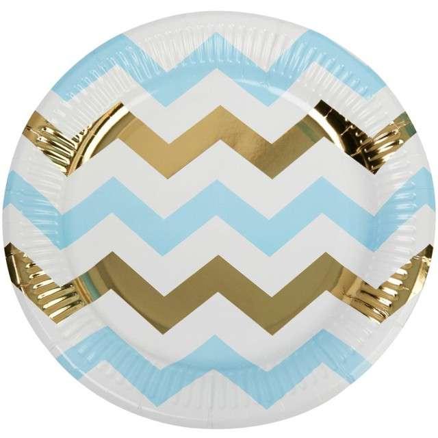 """Talerzyki papierowe """"Pattern Works - Plate Blue Chevron"""", Neviti, 23 cm, 8 szt"""