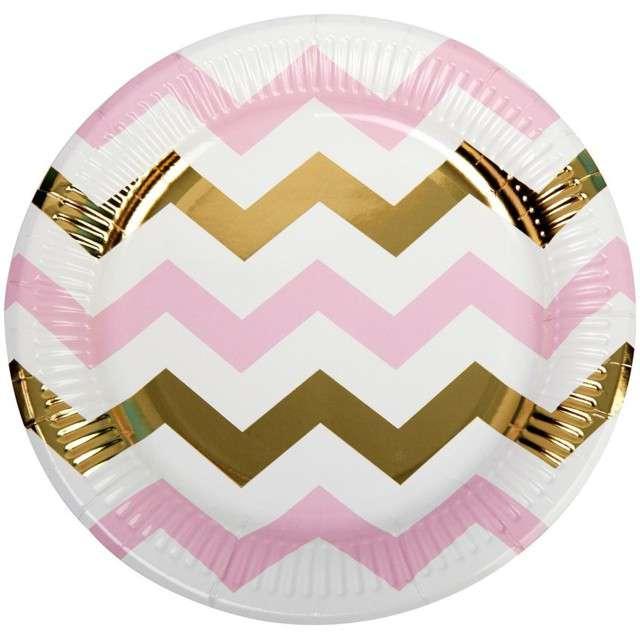 """Talerzyki papierowe """"Pattern Works - Plate Pink Chevron"""", Neviti, 23 cm, 8 szt"""