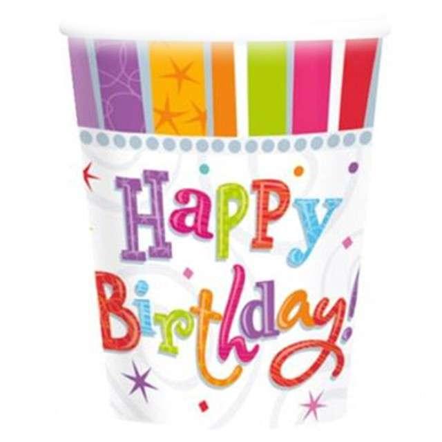 """Kubeczki papierowe """"Happy Birthday Radiant"""", AMSCAN, 266 ml, 8 szt."""