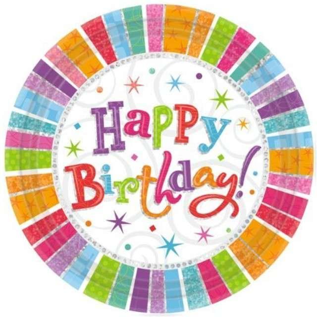 """Talerzyki papierowe """"Happy Birthday Radiant"""", AMSCAN, 23 cm, 8 szt."""