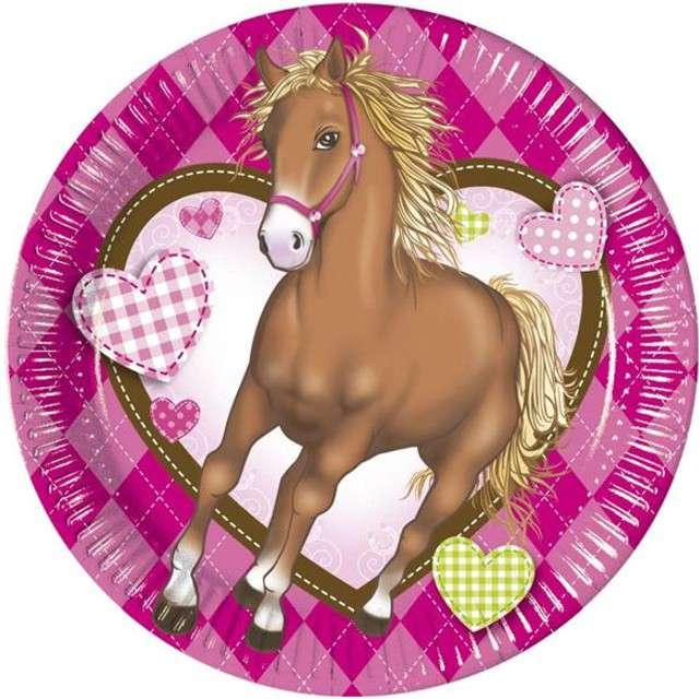"""Talerzyki papierowe """"Decorata Horses"""", PROCOS, 20 cm, 8 szt"""
