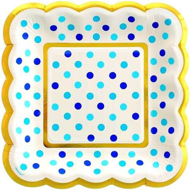 "Talerzyki papierowe ""Blue Dots"", AMSCAN, 14 cm, 36 szt"